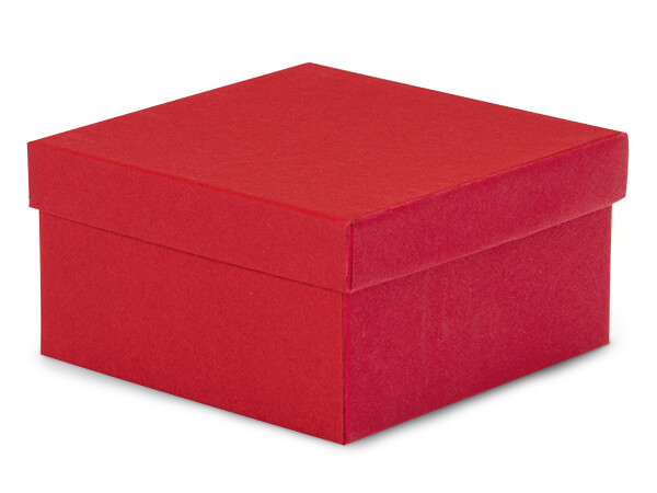 "Red Matte Kraft Jewelry Gift Boxes, 3.5x3.5x2"", 100 Pack, Cotton Fill"