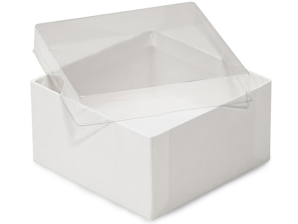 "Clear Lid White Base Jewelry Boxes, 3.5x3.5x2"", 100 Pack, Cotton Fill"
