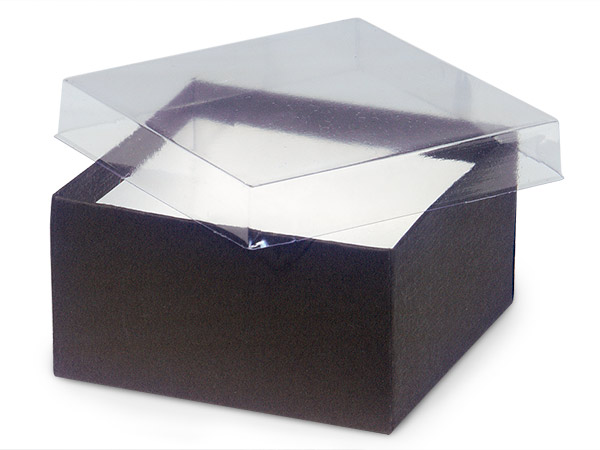 "Clear Lid Chocolate Base Gift Box, 3.5x3.5x2"", 100 Pack, Cotton Fill"