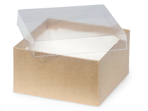 "Clear Lid Kraft Base Jewelry Boxes, 3.5x3.5x2"", 100 Pack, Cotton Fill"