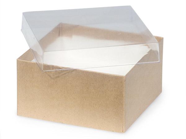 "Clear Lid Kraft Base Jewelry Boxes, 3.5x3.5x2"", 100 Pack, Fiber Fill"