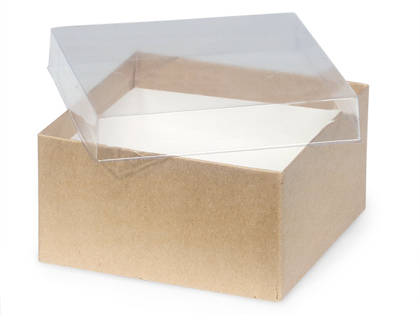 "3-1/2x3-1/2x1-7/8"" Clear Lid Boxes With Kraft Bases"