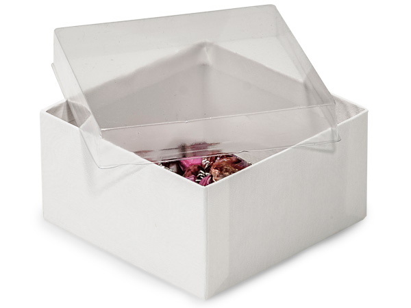 "3-1/2x3-1/2x1-7/8"" Clear Lid Boxes With White Swirl Base"