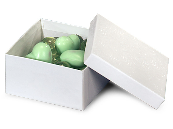 """3.5x3.5x1.75""""  White Embossed Swirl Jewelry Boxes with cotton fiber"""