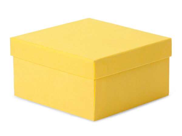 """3-1/2x3-1/2x1-7/8"""" Yellow Eco Tone Recycled Jewelry Boxes"""