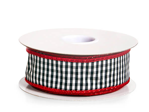 """Black and White Gingham Plaid Wired Ribbon, 1-1/2""""x10 yards"""