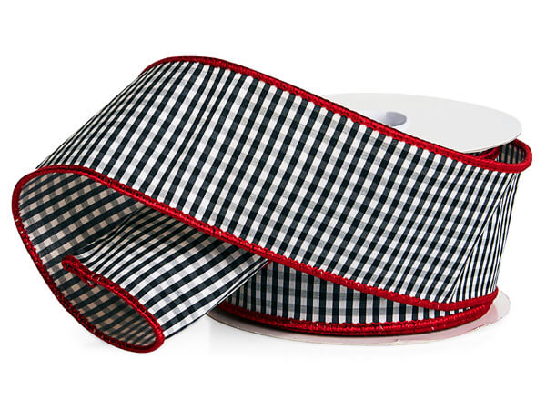 """Black and White Gingham Plaid Wired Ribbon, 2-1/2""""x10 yards"""