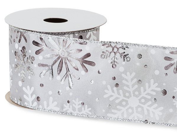 """Snowflake Silver and White Wired Ribbon, 2-1/2"""" x 10 yards"""