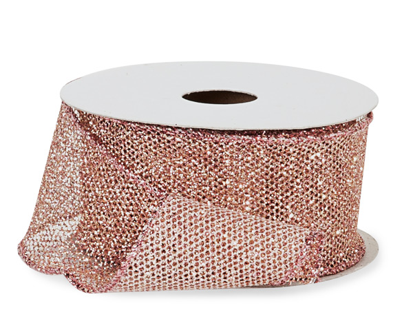 "Rose Gold Fine Glitter Wire Mesh Ribbon, 1-1/2"" x 10 yards"
