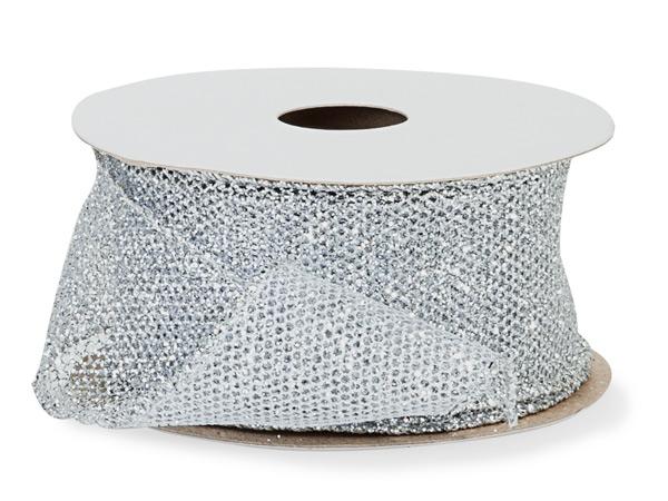"Silver Fine Glitter Wire Mesh Ribbon, 1-1/2"" x 10 yards"