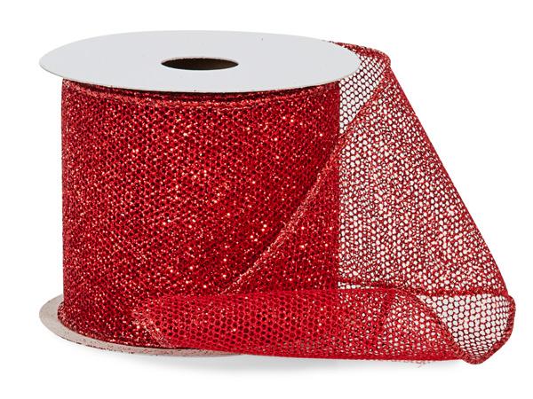 "*Red Fine Glitter Wire Mesh Ribbon, 2-1/2"" x 10 yards"