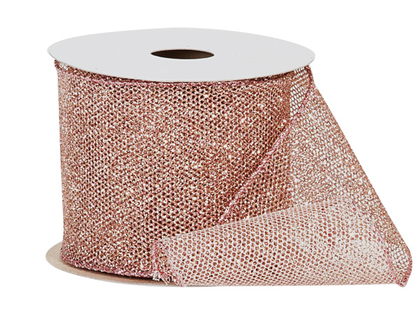 "Rose Gold Fine Glitter Wire Mesh Ribbon, 2-1/2""  x 10 yards"