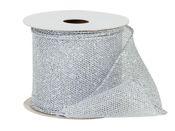 "*Silver Fine Glitter Wire Mesh Ribbon, 2-1/2"" x 10 yards"