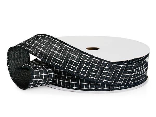 "Black and White Windowpane Plaid Wired Ribbon, 1-1/2""x10 yards"