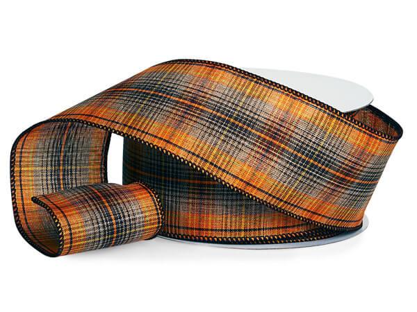"Brown and Orange Tartan Plaid Wired Ribbon, 2-1/2""x10 yards"