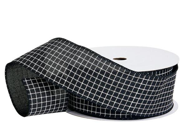 Black & White Windowpane Plaid Wired Ribbon