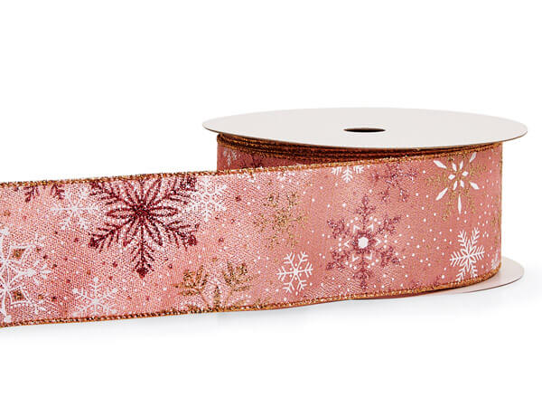 """Snowflake Pink and Gold Wired Ribbon, 2-1/2"""" x 10 yards"""