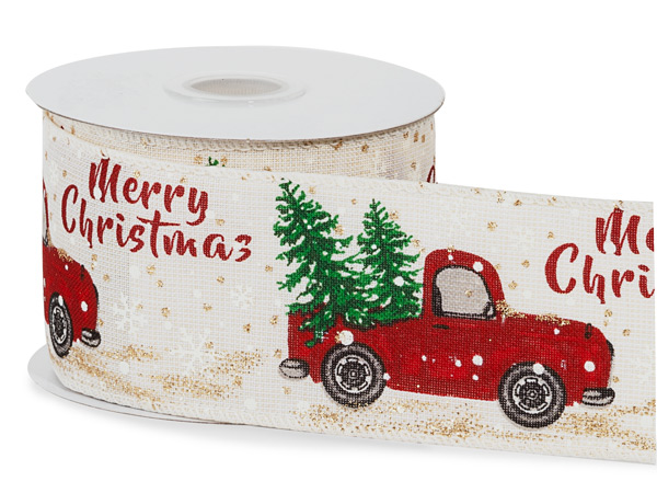 "Red Christmas Truck Lightly Wired Ribbon, 2-1/2""x10 yards"