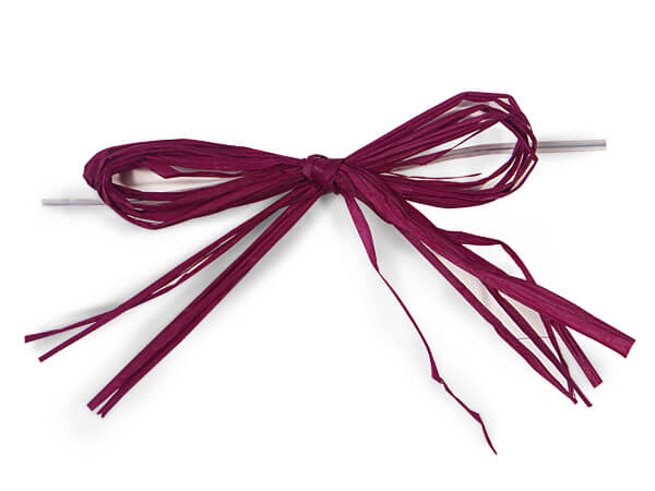 "Burgundy 4"" Pre-tied Paper Bows With 6"" Twist Ties"