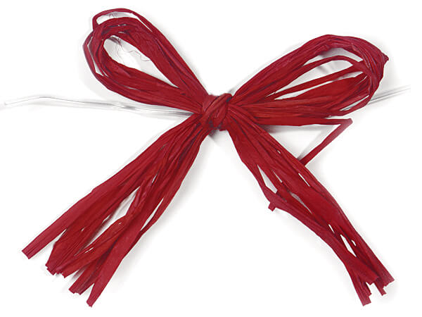 "4"" Hot Red Pre-Tied Matte Raffia Bows, 12 pack"