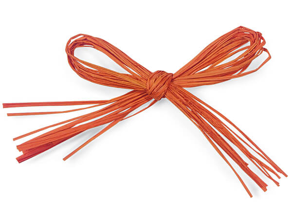 "*4"" Orange Pre-Tied Matte Raffia Bows, 12 pack"