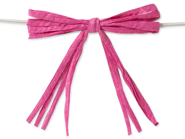 "3-3/4"" Beauty Pink Pre-Tied Raffia Paper Bows, 18 pack"