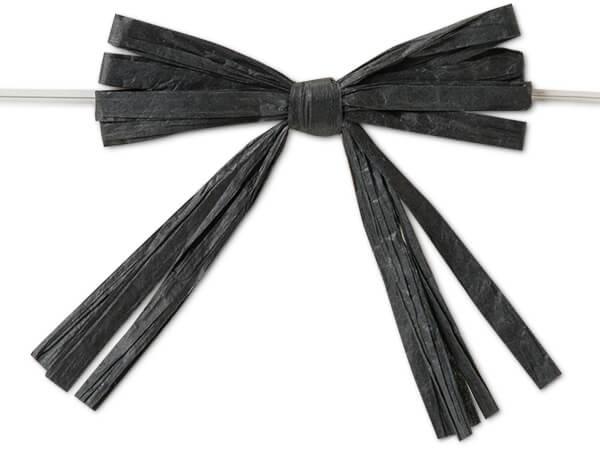 "3-3/4"" Black Pre-Tied Raffia Paper Bows, 18 pack"