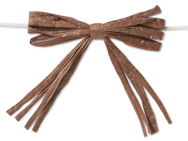 "3-3/4"" Chocolate Brown Pre-Tied Raffia Paper Bows, 18 pack"