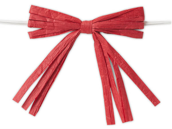 """3-3/4"""" Deep Red Pre-Tied Raffia Paper Bows, 18 pack"""