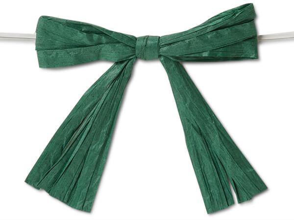 "3-3/4"" Hunter Green Pre-Tied Raffia Paper Bows, 18 pack"