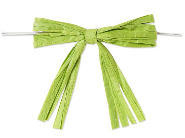 """3-3/4"""" Jungle Green Pre-Tied Raffia Paper Bows, 18 pack"""