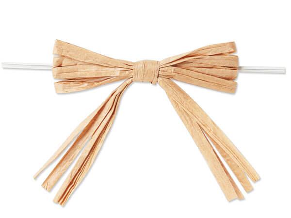 "3-3/4"" Natural Light Kraft Pre-Tied Raffia Paper Bows, 18 pack"