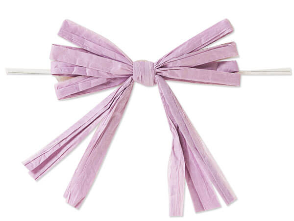 "*3-3/4"" Lavender Pre-Tied Raffia Paper Bows, 18 pack"
