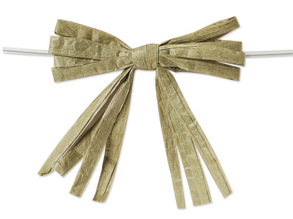 """*3-3/4"""" Meadow Green Pre-Tied Raffia Paper Bows, 18 pack"""