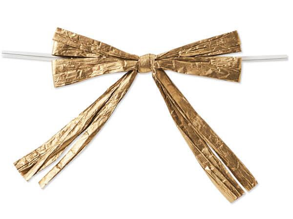 "*3-3/4"" Metallic Gold Pre-Tied Raffia Paper Bows, 18 pack"