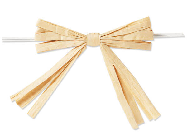 """3-3/4"""" Oatmeal Pre-Tied Raffia Paper Bows, 18 pack"""
