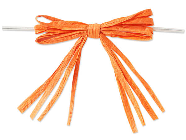 """3-3/4"""" Orange Pre-Tied Raffia Paper Bows, 18 pack"""