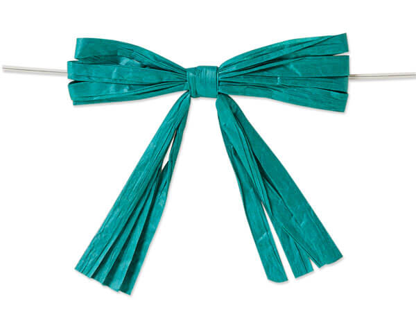 """3-3/4"""" Teal Blue Pre-Tied Raffia Paper Bows, 18 pack"""