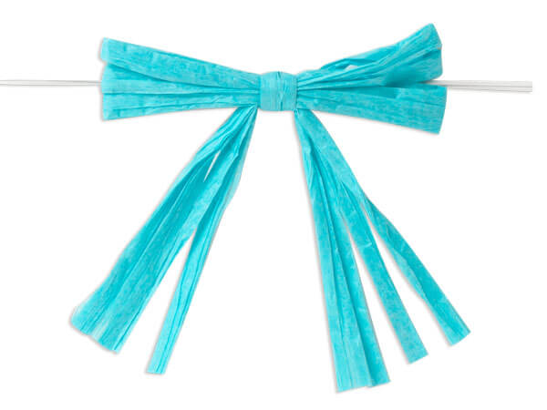 "3-3/4"" Turquoise Pre-Tied Raffia Paper Bows, 18 pack"