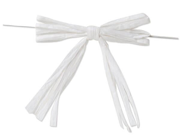 "3-3/4"" White Pre-Tied Raffia Paper Bows, 18 pack"
