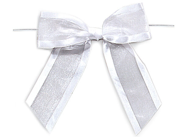 "White Pre-tied Sheer Bows Organza w/ Satin Edge 1-1/2"" Ribbon"
