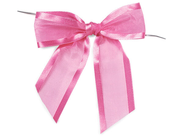 "Fuchsia Pre-tied Sheer Bows Organza w/ Satin Edge 1-1/2"" Ribbon"