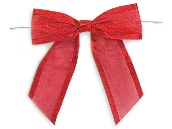"4-1/2"" Red Satin Edge Sheer Organza Pre-Tied Gift Bows, 12 pack"