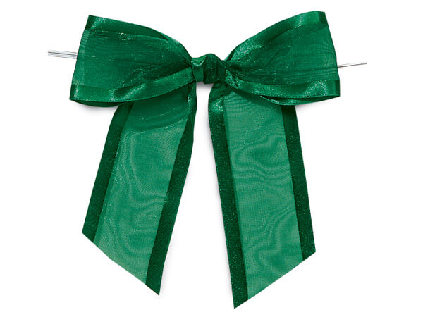 "4-1/2"" Hunter Satin Edge Sheer Organza Pre-Tied Gift Bows, 12 pack"