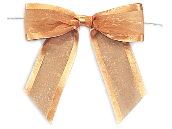 "4-1/2"" Gold Satin Edge Sheer Organza Pre-Tied Gift Bows, 12 pack"