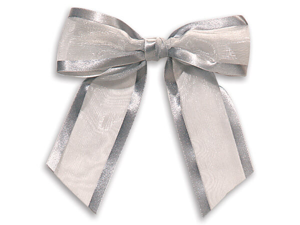 "4-1/2"" Silver Satin Edge Sheer Organza Pre-Tied Gift Bows, 12 pack"