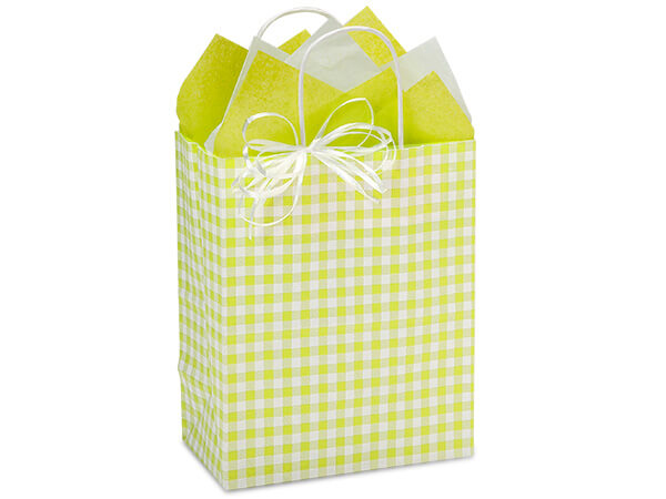 "Apple Green Gingham Paper Shopping Bags, Cub 8x4.75x10.25"", 25 Pack"