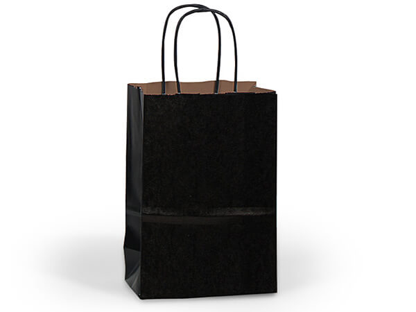 "Black Recycled Kraft Bags Cub 8x4.75x10.5"", 25 Pack"
