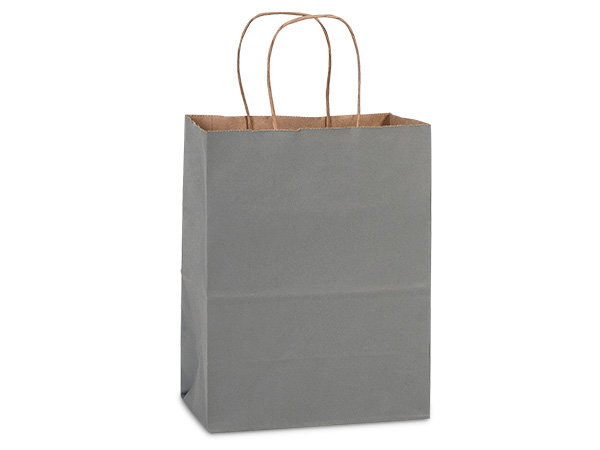 "Charcoal Gray Recycled Kraft Bags Cub 8x4.75x10.5"", 25 Pack"