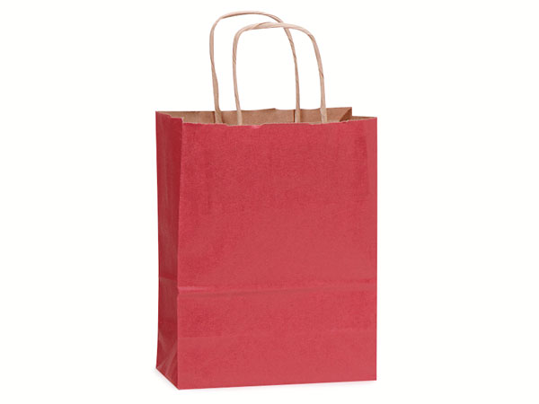 "Christmas Red Recycled Kraft Bags Cub 8x4.75x10.5"", 25 Pack"